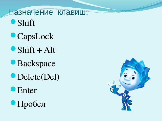 Назначение клавиш: Shift CapsLock Shift + Alt Backspace Delete(Del) Enter Про...