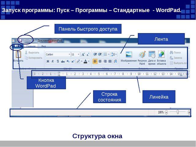 Структура окна Запуск программы: Пуск – Программы – Стандартные - WordPad. За...