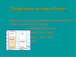 Потребление топлива в России Изменение структуры потребляемого топлива в Росс