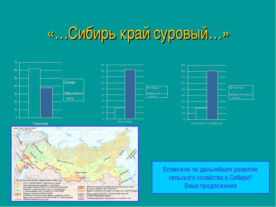«…Сибирь край суровый…» Возможно ли дальнейшее развитие сельского хозяйства в...