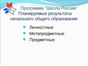 Планируемые результаты начального общего образования Личностные Метапредметны