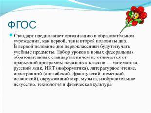 ФГОС Стандарт предполагает организацию в образовательном учреждении, как перв