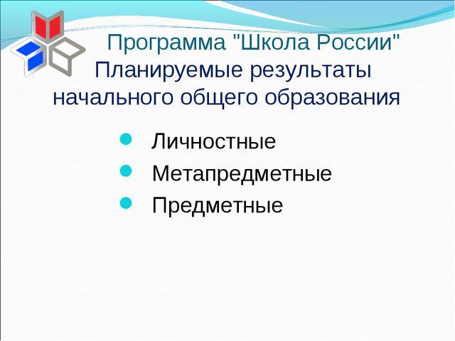Планируемые результаты начального общего образования Личностные Метапредметны...