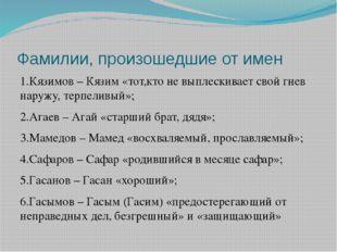 Фамилии, произошедшие от имен 1.Кязимов – Кязим «тот,кто не выплескивает свой