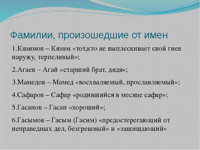 Фамилии, произошедшие от имен 1.Кязимов – Кязим «тот,кто не выплескивает свой...