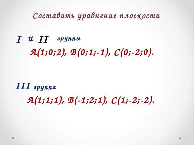 Составить уравнение плоскости