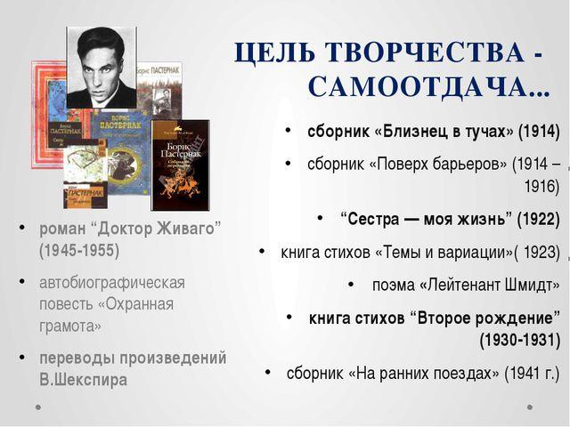 ЦЕЛЬ ТВОРЧЕСТВА - САМООТДАЧА... сборник «Близнец в тучах» (1914) сборник «Пов...