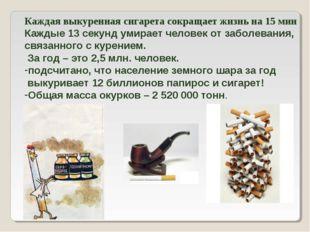 Каждая выкуренная сигарета сокращает жизнь на 15 мин Каждые 13 секунд умирает