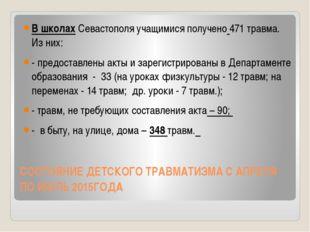 СОСТОЯНИЕ ДЕТСКОГО ТРАВМАТИЗМА С АПРЕЛЯ ПО ИЮЛЬ 2015ГОДА В школах Севастополя