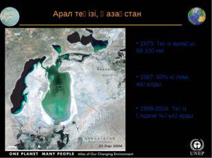 Арал теңізі, Қазақстан 1973: Теңіз аумағы: 66 100 км2 1987: 60% көлемі жоғалд