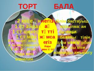 ТОРТ БАЛА 2 кесе ұн негізі білім бастауыш 1 ст айран ақ жазылмаған парақ 1 с