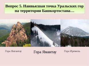 Вопрос 5. Наивысшая точка Уральских гор на территории Башкортостана… Гора Ире