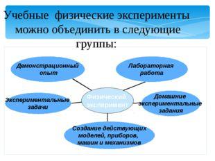 Учебные физические эксперименты можно объединить в следующие группы: Эксперим