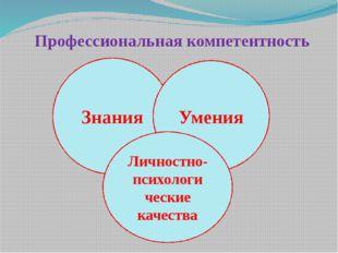 Профессиональная компетентность Знания Умения Личностно- психологи ческие кач