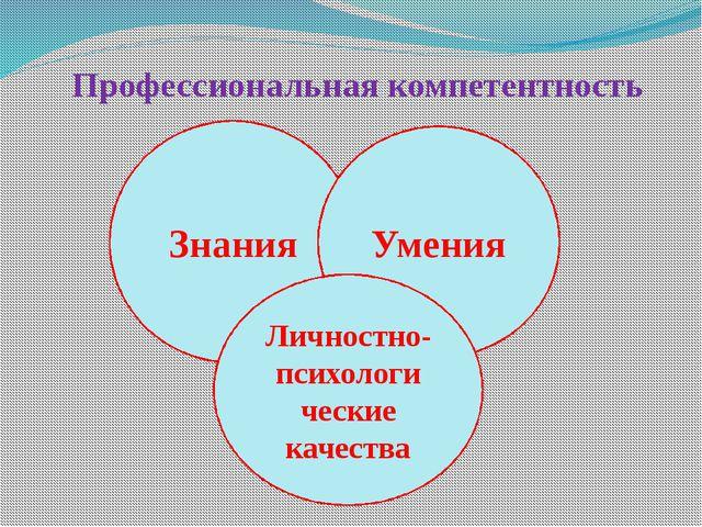 Профессиональная компетентность Знания Умения Личностно- психологи ческие кач...