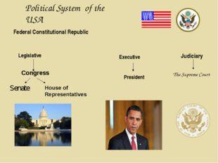 Political System of the USA Federal Constitutional Republic Legislative Congr