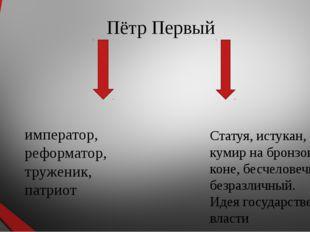 Пётр Первый император, реформатор, труженик, патриот Статуя, истукан, кумир н