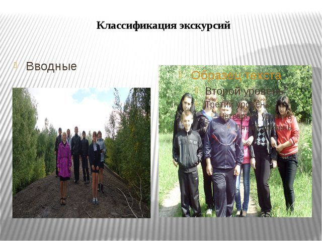 Классификация экскурсий Вводные
