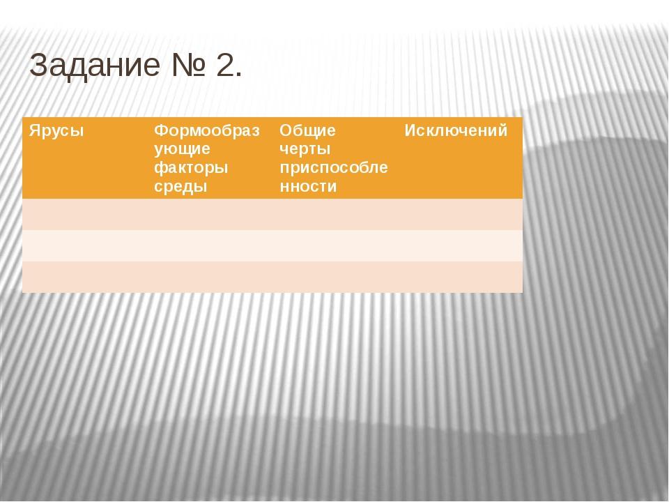 Задание № 2. Ярусы Формообразующие факторы среды Общие черты приспособленност...