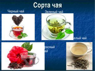 Сорта чая Черный чай Зеленый чай Белый чай Красный чай
