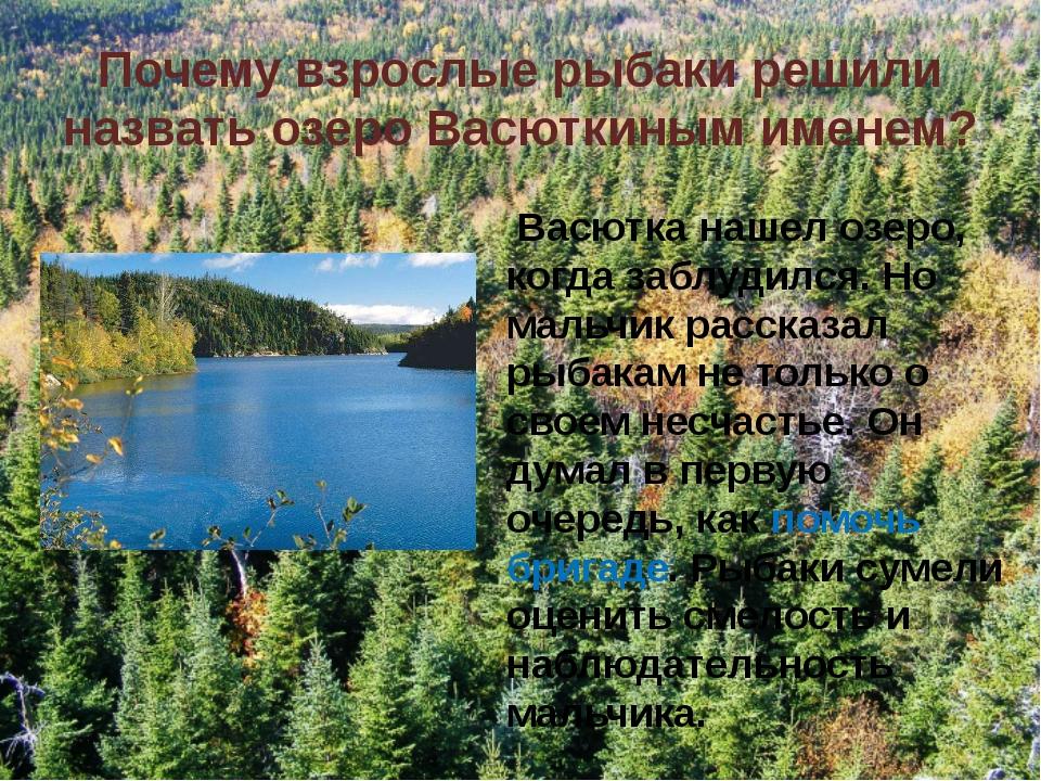 Почему взрослые рыбаки решили назвать озеро Васюткиным именем? Васютка нашел...