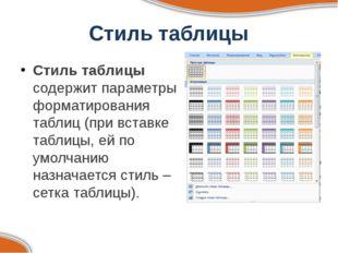 Стиль таблицы Стиль таблицы содержит параметры форматирования таблиц (при вст