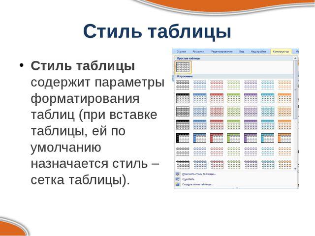 Стиль таблицы Стиль таблицы содержит параметры форматирования таблиц (при вст...