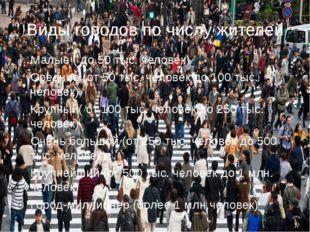 Виды городов по числу жителей Малые ( до 50 тыс. человек) Средние (от 50 тыс.
