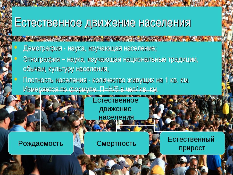 Естественное движение населения Демография - наука, изучающая население; Этно...