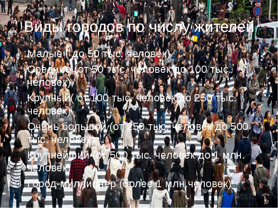 Виды городов по числу жителей Малые ( до 50 тыс. человек) Средние (от 50 тыс....