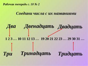 Рабочая тетрадь с. 10 № 2 Соедини числа с их названиями Два Двенадцать Двадца