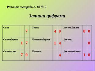 Рабочая тетрадь с. 10 № 2 Запиши цифрами Восемнадцать Восемь Восемьдесят Четы