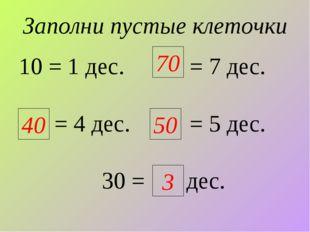 Заполни пустые клеточки 10 = 1 дес. = 7 дес. = 4 дес. = 5 дес. 30 = дес. 70 4