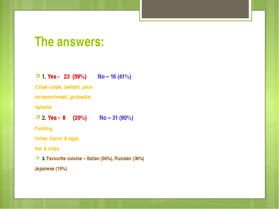 The answers: 1. Yes - 23 (59%) No – 16 (41%) Chak-chak, belish, plov ochpochm...