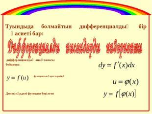 Туындыда болмайтын дифференциалдың бір қасиеті бар: дифференциалдың анықтамас
