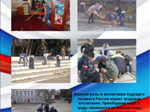 Важную роль в воспитании будущего патриота России играет трудовое воспитание.