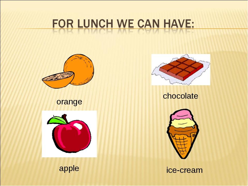 orange chocolate apple ice-cream