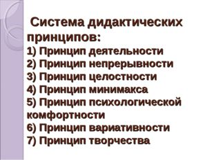 Система дидактических принципов: 1) Принцип деятельности 2) Принцип непрерыв