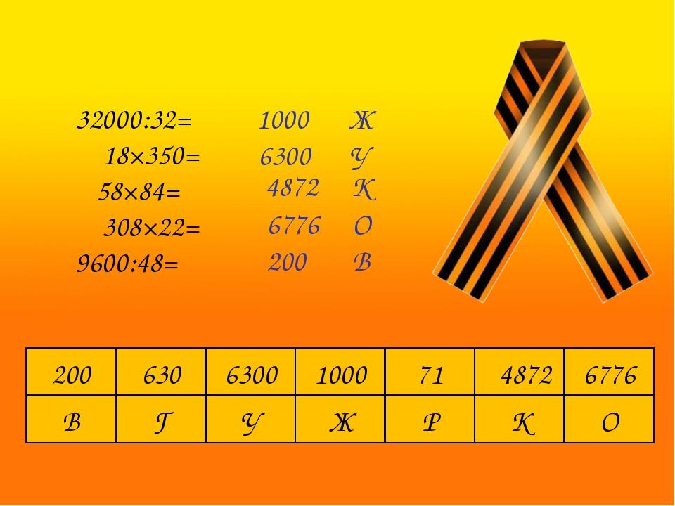 32000:32= 18×350= 58×84= 308×22= 9600:48= 1000 Ж 6300 У 4872 К 6776 О 200 В...