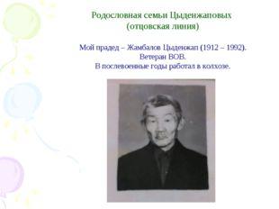 Родословная семьи Цыденжаповых (отцовская линия) Мой прадед – Жамбалов Цыден
