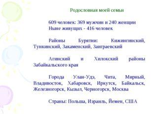 Родословная моей семьи 609 человек: 369 мужчин и 240 женщин Ныне живущих