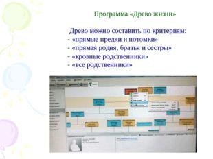 Программа «Древо жизни»  Древо можно составить по критериям: - «прямые пр