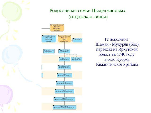 Родословная семьи Цыденжаповых (отцовская линия) 12 поколение: Шаман - Мухур...