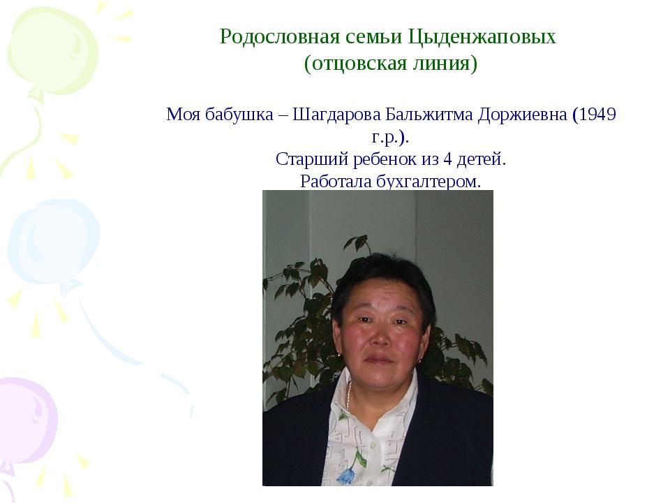Родословная семьи Цыденжаповых (отцовская линия) Моя бабушка – Шагдарова Бал...