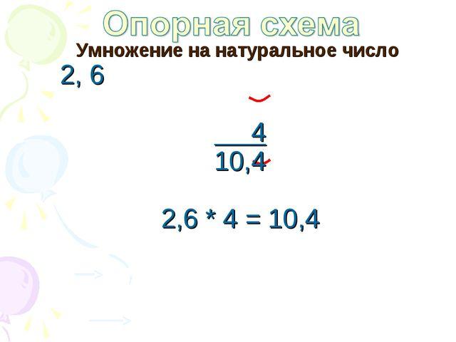 Умножение на натуральное число 2, 6 4 10,4 2,6 * 4 = 10,4