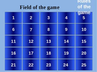 1 6 11 16 21 2 7 12 17 22 3 8 13 18 23 4 9 14 19 24 5 10 15 20 25 Field of t