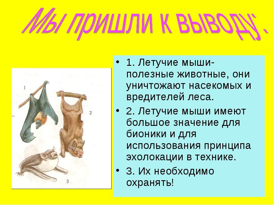 1. Летучие мыши- полезные животные, они уничтожают насекомых и вредителей лес...
