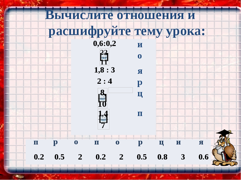 Вычислите отношения и расшифруйте тему урока: и о я р о р ц п п 0.2 0.5 2 0....