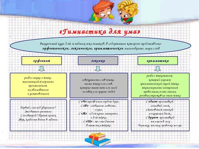 «Гимнастика для ума» внеурочный курс для младших школьников, в содержании кот...