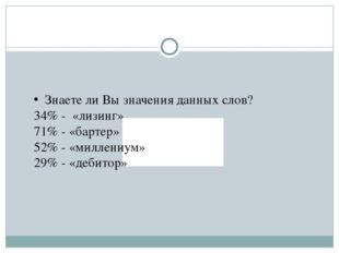 Знаете ли Вы значения данных слов? 34% - «лизинг» 71% - «бартер» 52% - «милл